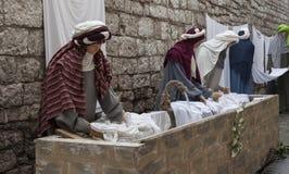 Wizyta piękny średniowieczny miasteczko Umbria region podczas Bożenarodzeniowych wakacji z narodzenie jezusa sceną naturalnych ro Fotografia Stock