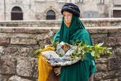 Wizyta piękny średniowieczny miasteczko Umbria region podczas Bożenarodzeniowych wakacji z narodzenie jezusa sceną naturalnych ro Obraz Stock