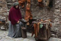 Wizyta piękny średniowieczny miasteczko Umbria region podczas Bożenarodzeniowych wakacji z narodzenie jezusa sceną naturalnych ro Zdjęcie Royalty Free