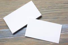 Wizytówki puste miejsce nad biuro stołem Korporacyjny materiały oznakuje egzamin próbnego Zdjęcia Stock
