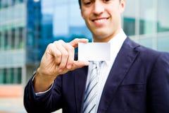 Wizyty karta w ręce Zdjęcie Stock