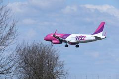 Wizz Air Airbus A320-200 HA-LWN visto entre ramos Foto de Stock
