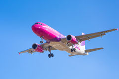 Wizz air aircraft landing on the airport Stock Images