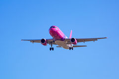 Wizz air aircraft landing on the airport Stock Photo