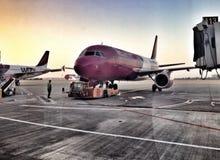 Wizz Air hyvlar på logiporten Arkivbilder