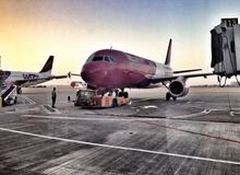 Wizz Air plane at boarding gate Stock Images