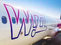 Wizz air plane on Lech Walesa Airport in Gdansk, Poland. Stock Image