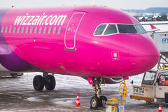 Wizz air plane on Lech Walesa Airport in Gdansk Stock Photos