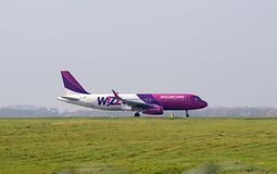 Wizzair aircraft landing in airport Stock Photos
