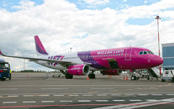 Wizzair airline Airbus plane at Vilnius Airport. Stock Photos