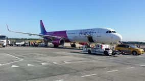 Wizzair airplane. Parking in an airport Stock Photo