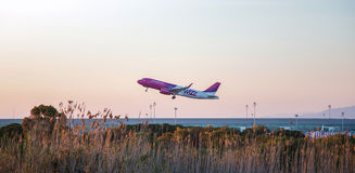 Wizzair plane departing stock photo