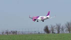 Free Wizzair Plane Landing On The Runway, Landing Royalty Free Stock Photography - 114247867