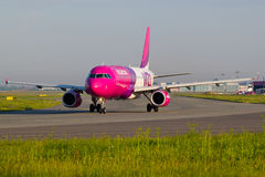 Wizzair at Warsaw Okecie Airport. Photo presents plane of Wizzair company. Photo taken at Warsaw F. Chopin Airport Stock Images