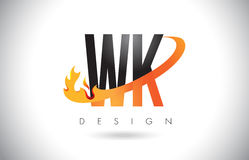 WK W K Letter Logo with Fire Flames Design and Orange Swoosh. Stock Photo