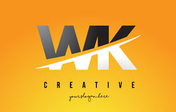 WK W K Letter Modern Logo Design with Yellow Background and Swoo Royalty Free Stock Images