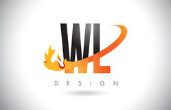 WL W L Letter Logo with Fire Flames Design and Orange Swoosh. Royalty Free Stock Photo