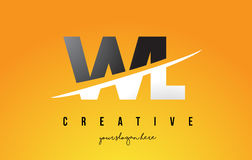 WL W L Letter Modern Logo Design with Yellow Background and Swoo Royalty Free Stock Photography