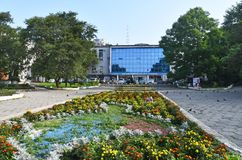 Wladiwostok, Russland, Juli, 23, 2018 Kulturell und Unterhaltungszentrum von Gewerkschaften in Wladiwostok stockfotos