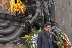 Wladyslaw Bartoszewski. Warsaw, Poland - April 19, 2015: 72nd anniversary of the Warsaw Ghetto Uprising. Wladyslaw Bartoszewski, Polish Prime Minister's Stock Photos