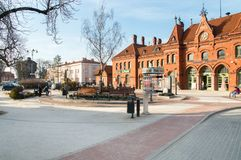 Wladyslaw Jedlinski square with Malbork railway station in background. Stock Image