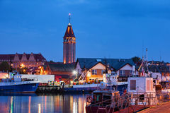 Wladyslawowo City Skyline and Port at Night Royalty Free Stock Image