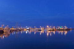 Wladyslawowo Port at Night in Poland Royalty Free Stock Images