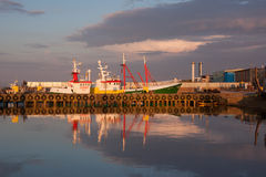 Wladyslawowo port during sunset Royalty Free Stock Images