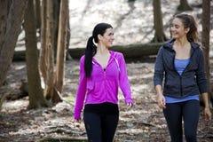 wlaking在森林中间的两名妇女 库存照片