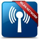 Wlan network blue square button red ribbon in corner Stock Photography