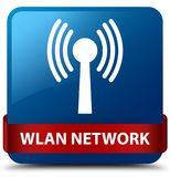 Wlan network blue square button red ribbon in middle. Wlan network isolated on blue square button with red ribbon in middle abstract illustration Royalty Free Stock Photo