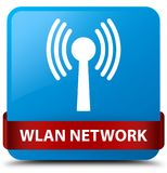 Wlan network cyan blue square button red ribbon in middle. Wlan network isolated on cyan blue square button with red ribbon in middle abstract illustration Royalty Free Stock Image
