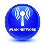 Wlan network glassy blue round button. Wlan network isolated on glassy blue round button abstract illustration Stock Photo