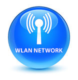 Wlan network glassy cyan blue round button Stock Photography
