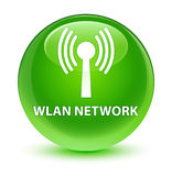 Wlan network glassy green round button Stock Image