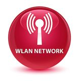 Wlan network glassy pink round button Stock Photography