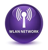 Wlan network glassy purple round button Royalty Free Stock Photography