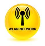 Wlan network glassy yellow round button Stock Image