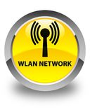 Wlan network glossy yellow round button. Wlan network isolated on glossy yellow round button abstract illustration Royalty Free Stock Images