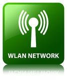 Wlan network green square button Stock Image