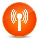 Wlan network icon elegant orange round button Royalty Free Stock Image