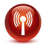Wlan network icon glassy brown round button Stock Image