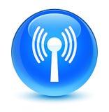 Wlan network icon glassy cyan blue round button Stock Photos