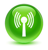 Wlan network icon glassy green round button Royalty Free Stock Image