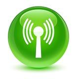 Wlan network icon glassy green round button Stock Photos
