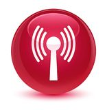Wlan network icon glassy pink round button. Wlan network icon isolated on glassy pink round button abstract illustration Royalty Free Stock Images