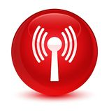 Wlan network icon glassy red round button Stock Photos