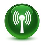 Wlan network icon glassy soft green round button Royalty Free Stock Image