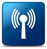 Wlan network icon blue square button Royalty Free Stock Photos