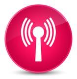 Wlan network icon elegant pink round button. Wlan network icon isolated on elegant pink round button abstract illustration Royalty Free Stock Photo